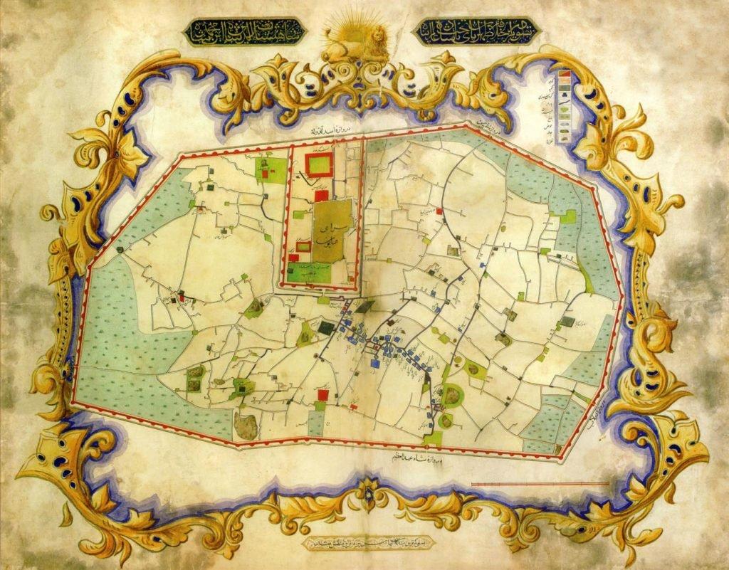 دومین نقشه رسمی شهر تهران دز زمان قاجاریه - ناصرالدین شاه